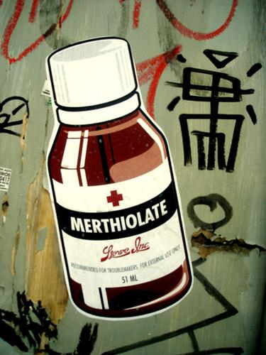 A dark red topical antiseptic containing mercury.  Still used throughout the world to treat minor cuts, scrapes, sores, and other external infectious conditions.